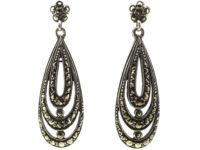 Art Deco Silver & Marcasite Triple Hoop Earrings