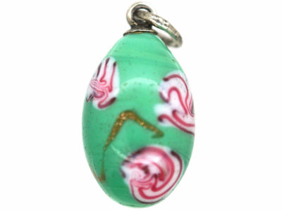 Russian Silver & Spun Glass Egg Pendant