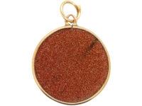 Edwardian 9ct Gold & Goldstone Round Pendant