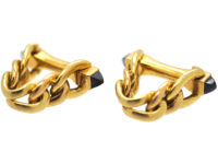 French 18ct Gold Cufflinks set with Sapphires