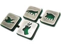 Art Deco Silver & Green Chalcedony Sporting Cufflinks