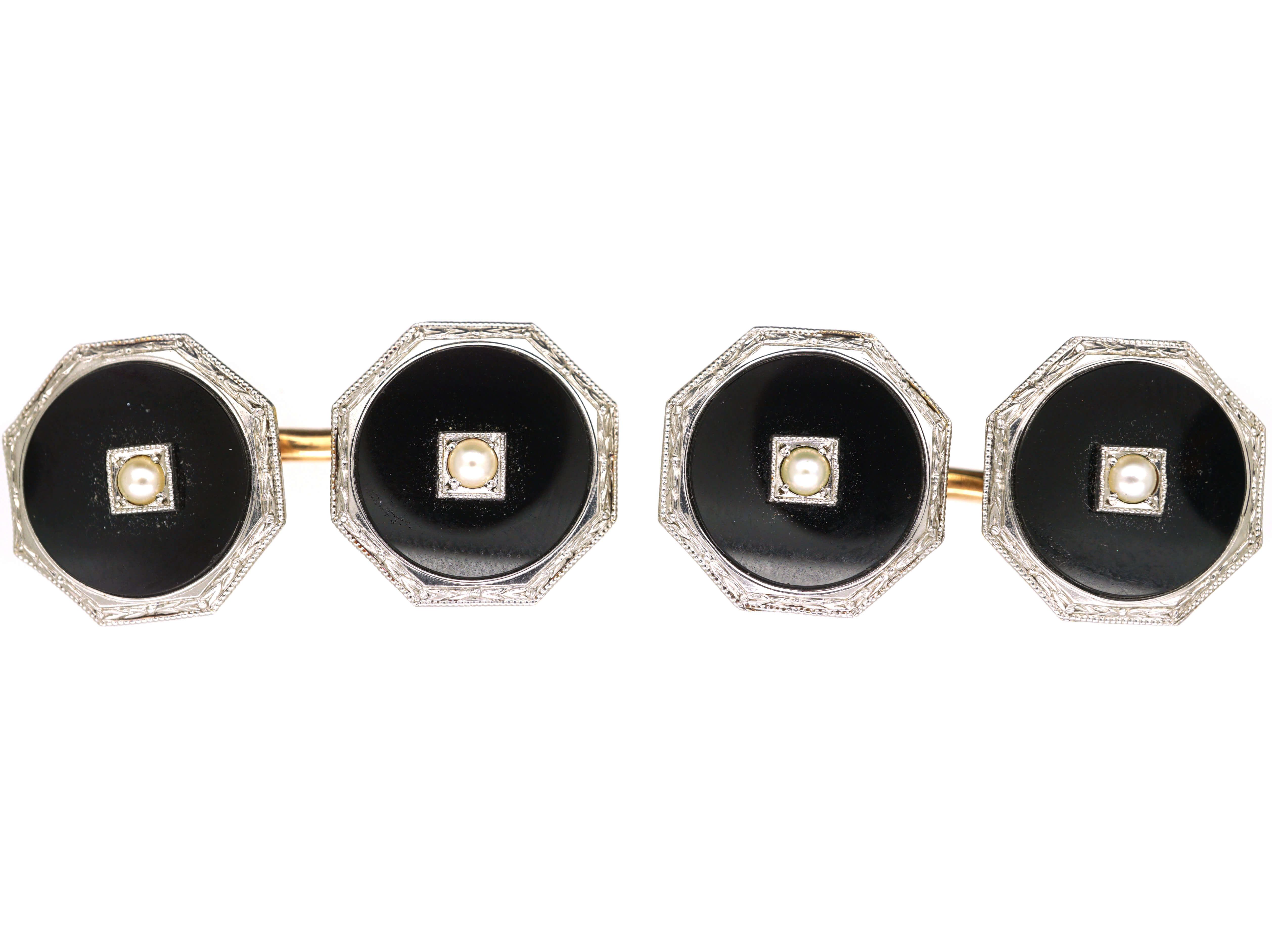 Art Deco 14ct Gold, Onyx & Natural Split Pearl Octagonal Cufflinks