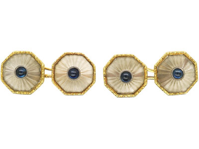 Art Deco 18ct Gold, Rock Crystal & Cabochon Sapphire Octagonal Shaped Cufflinks