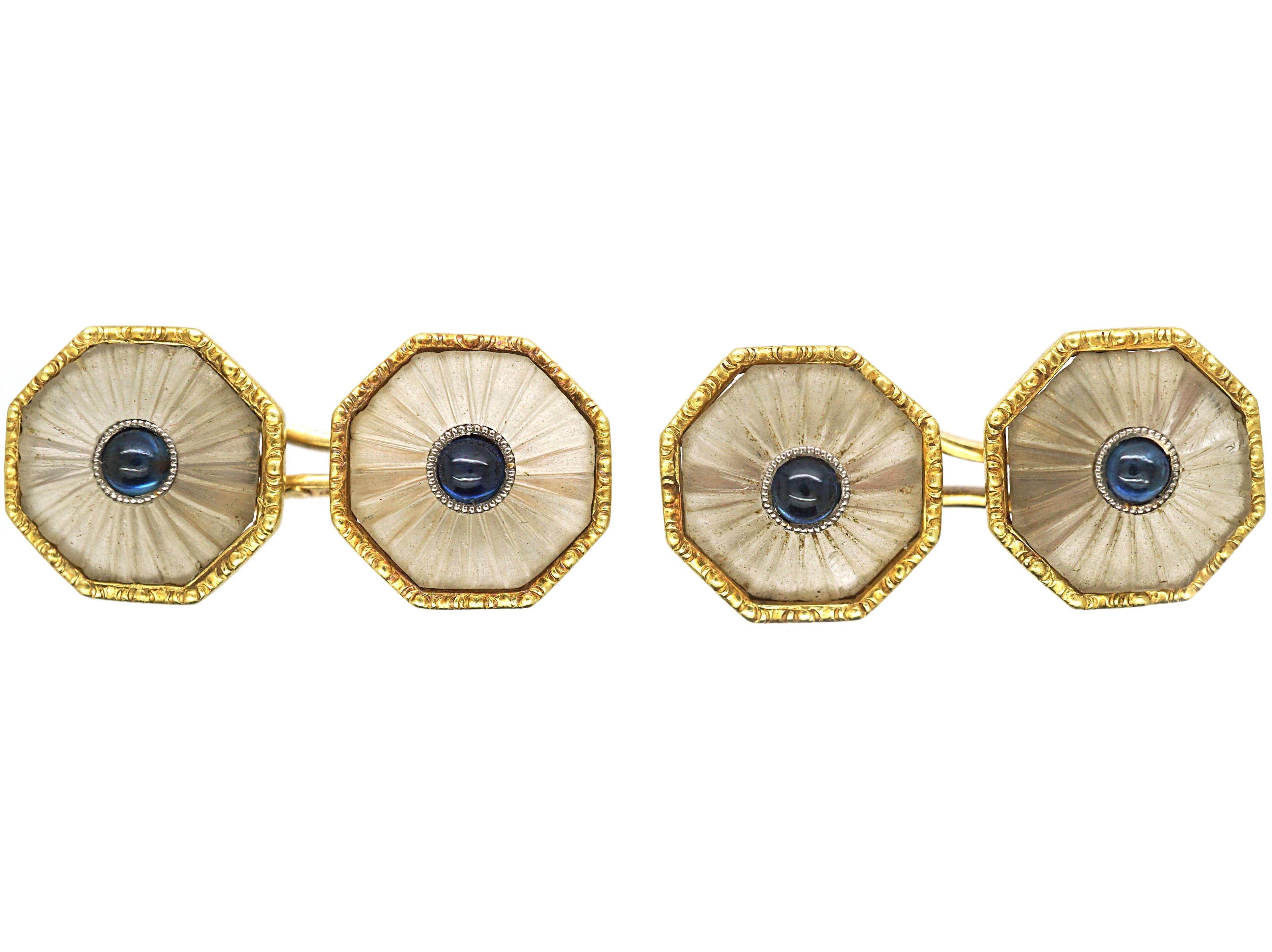 Art Deco 18ct Gold, Rock Crystal & Cabochon Sapphire Octagonal Shaped Cufflinks