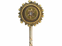 Victorian 15ct Gold Round Tie Pin set with a Rose Diamond