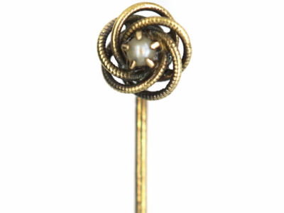 Early 20th Century 14ct Gold Coiled Design Tie Pin set with a Pearl