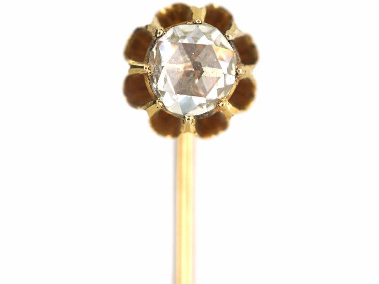 Victorian 18ct Gold & Rose Diamond Tie Pin