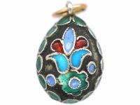 Russian Silver & Enamel Happy Easter Egg Pendant