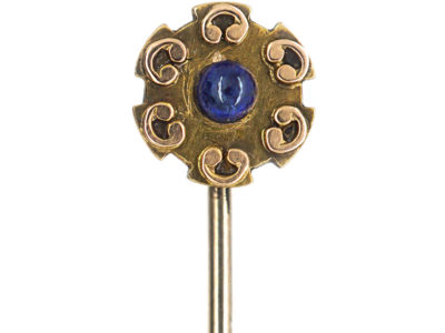 Edwardian 15ct Gold Tie Pin set with a Cabochon Sapphire