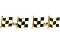 18ct Gold Black & White Enamel Motor Racing Flag Cufflinks