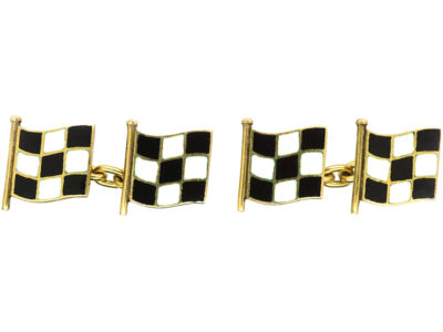 18ct Gold Black & White Enamel Motor Racing Flag Cufflinks