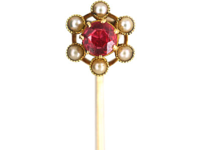 Edwardian 15ct Gold, Garnet & Natural Split Pearl Tie Pin