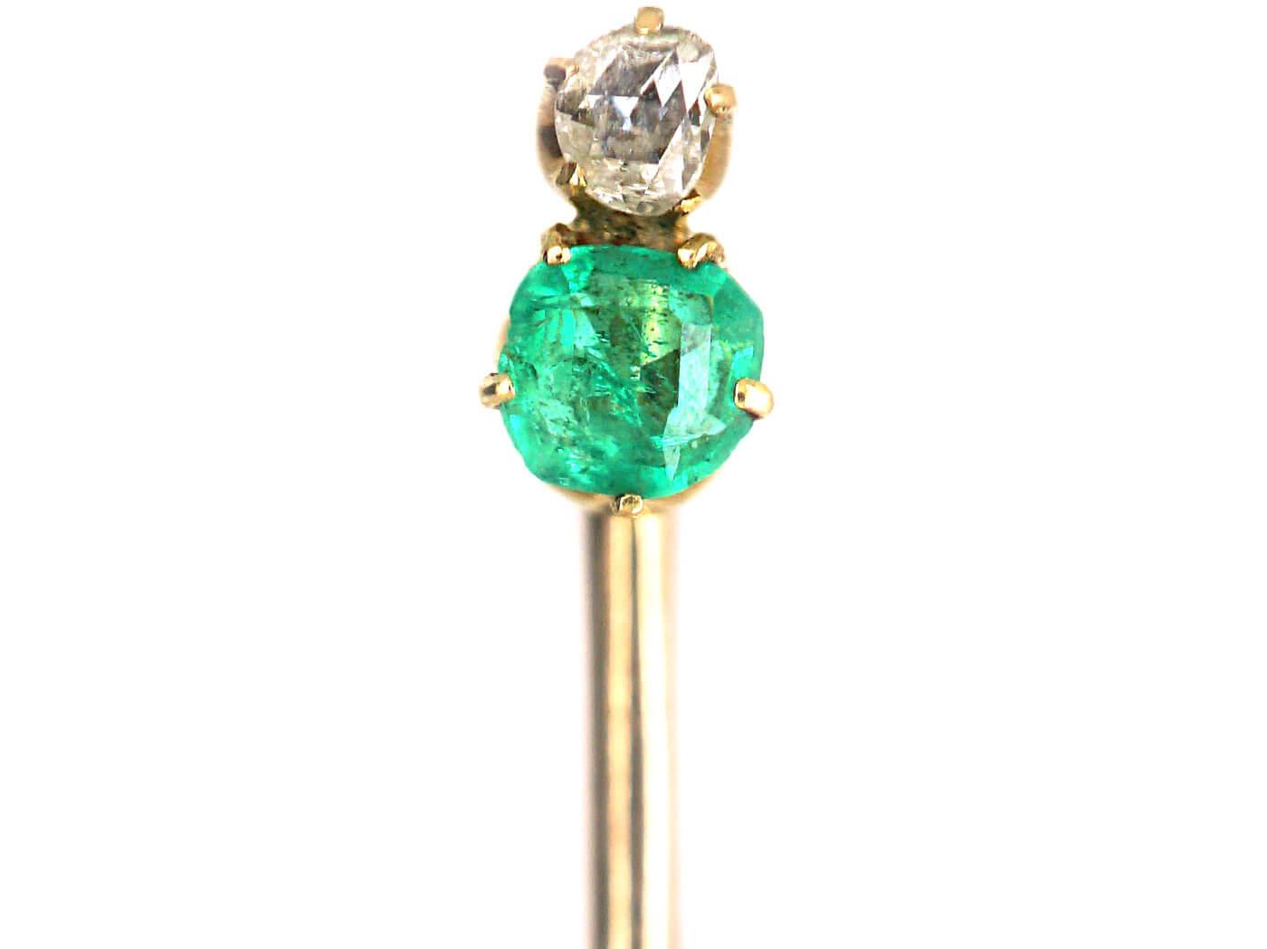 Edwardian Emerald & Diamond Tie Pin