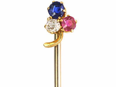 Edwardian Ruby, Sapphire & Diamond Three Leaf Clover Tie Pin
