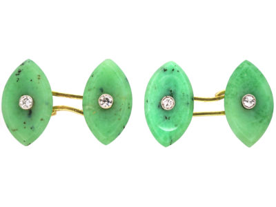 Art Deco Jade & Diamond Navette Shaped Cufflinks