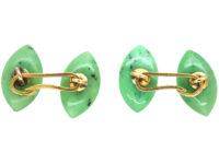 Art Deco Jade & Diamond Navette Shaped Cufflinks