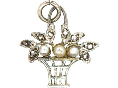 Edwardian 15ct Gold & Platinum, Natural Pearl & Rose diamond Basket Charm