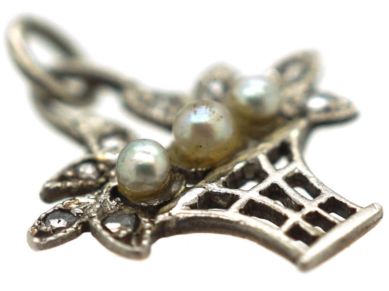 Edwardian 15ct Gold & Platinum, Natural Pearl & Rose diamond Basket Charm