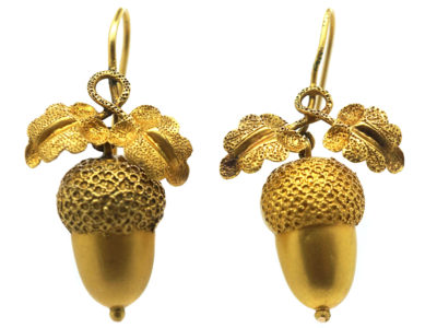 Victorian 15ct Gold Acorn Earrings