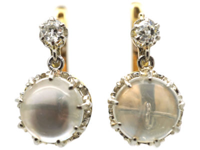French 18ct Gold, Moonstone & Diamond Earrings