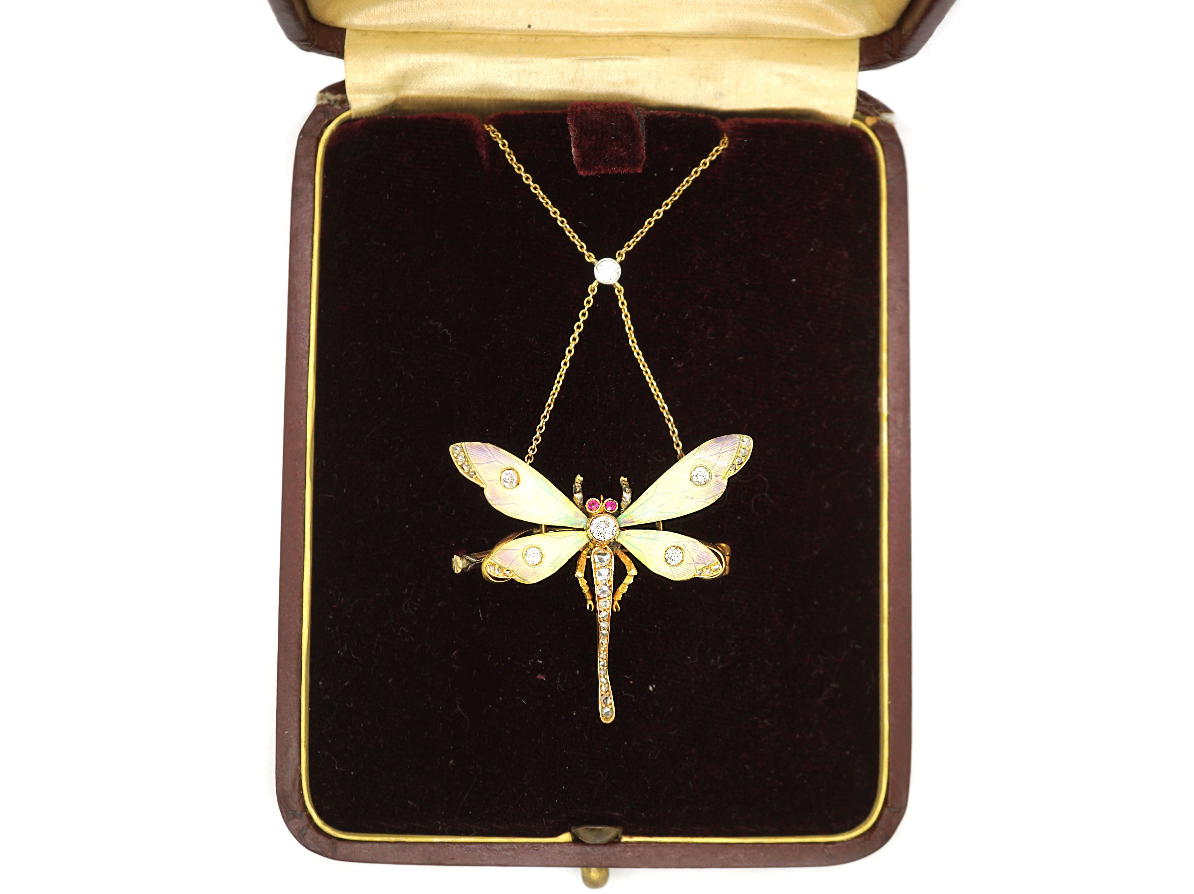 Art Nouveau Dragonfly Pendant on Chain in Original Case