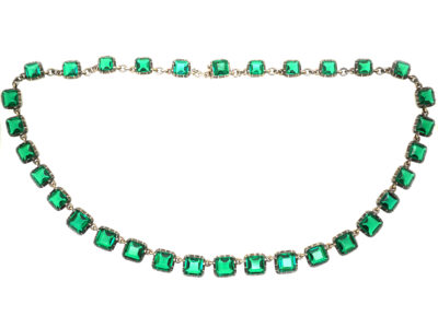 Edwardian Silver & Gold, Emerald Paste Riviere Necklace in Original Case