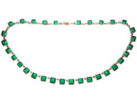 Edwardian Silver & Gold, Emerald Paste Riviere Necklace in Original Case