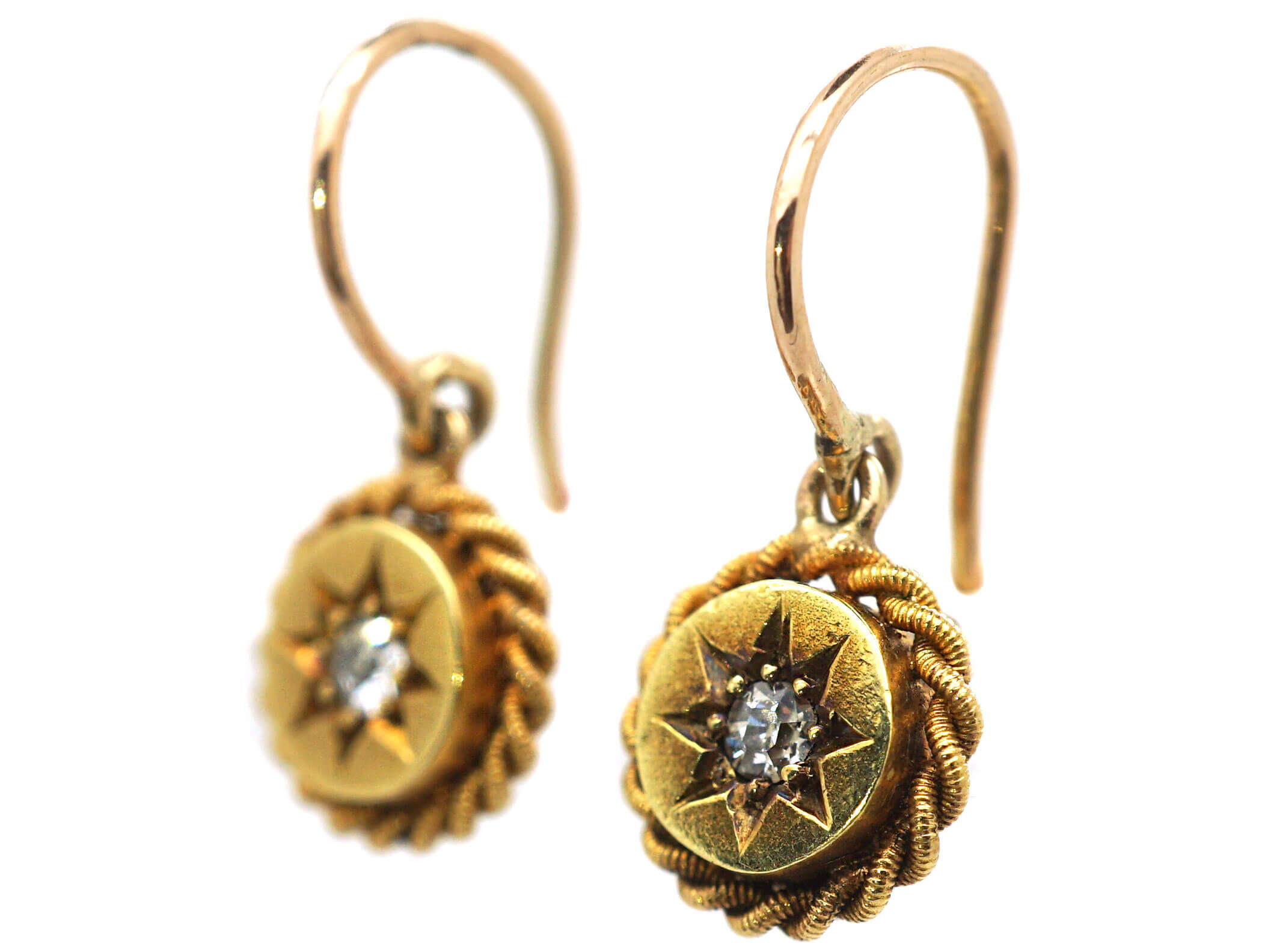 Victorian 15ct Gold Round Drop Earrings set with Diamonds