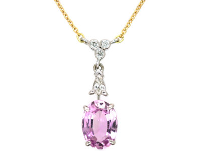 14ct White & Yellow Gold, Pink Topaz & Diamond Pendant on 14ct Gold Chain