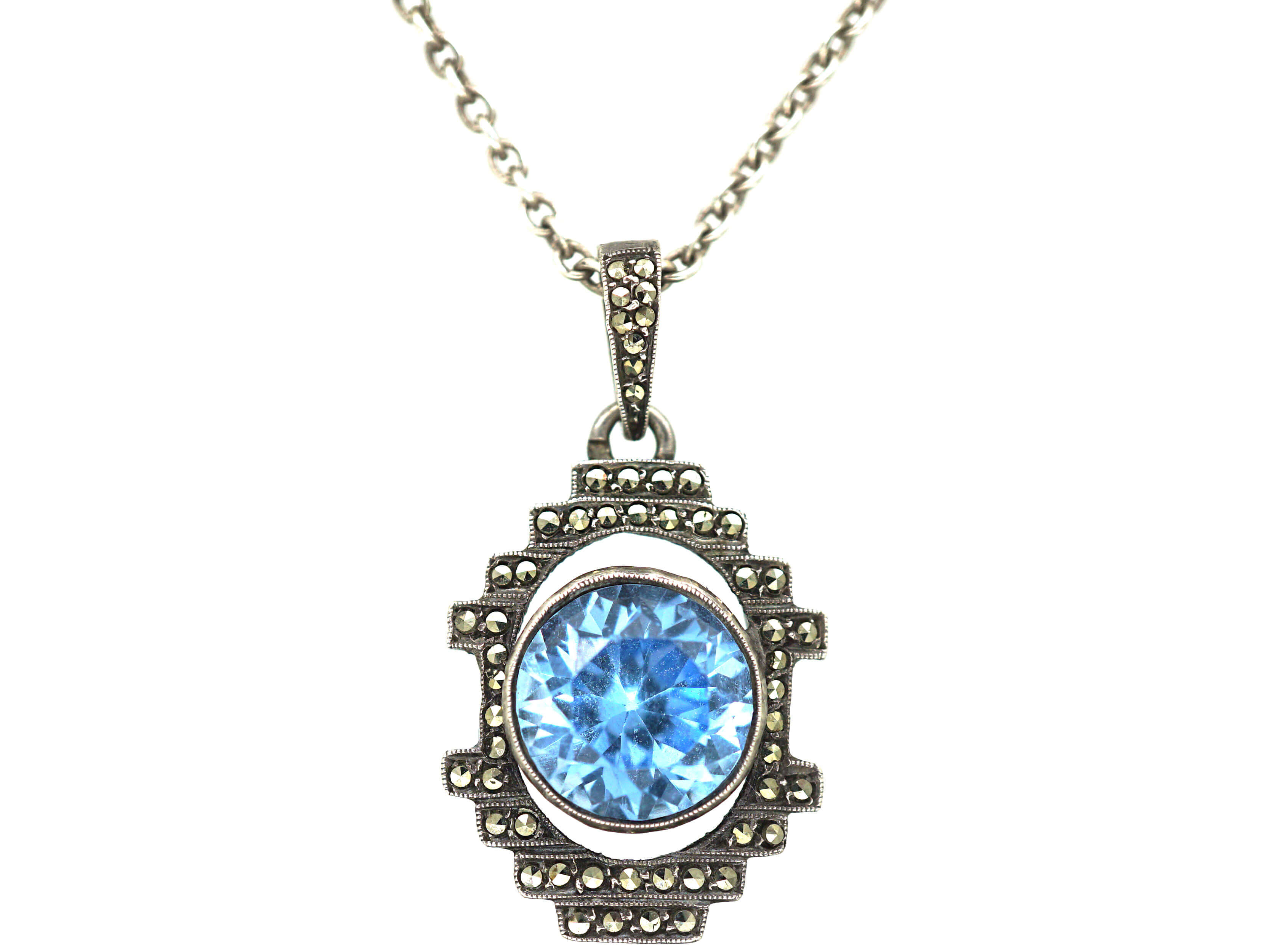 Art Deco Silver, Marcasite & Synthetic Spinel Pendant on Silver Chain