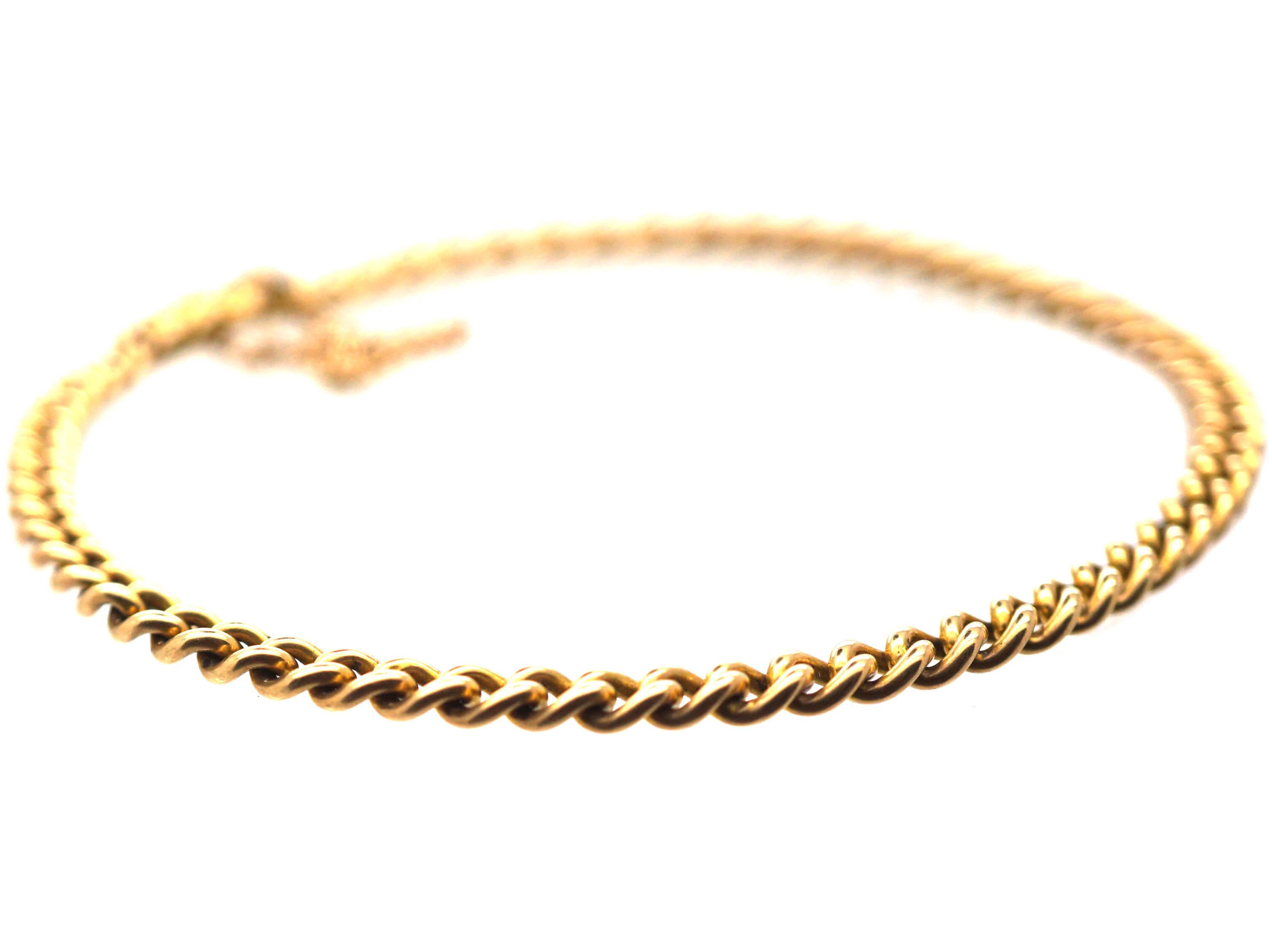 Edwardian 15ct Gold Woven Curb Design Narrow Bracelet
