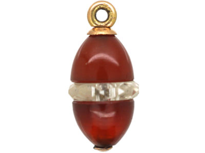 Edwardian Carnelian & Rock Crystal Egg Charm
