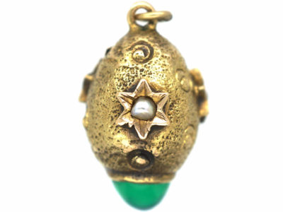 Edwardian 15ct Gold Egg Charm set with Chrysoprase & Natural Split Pearls