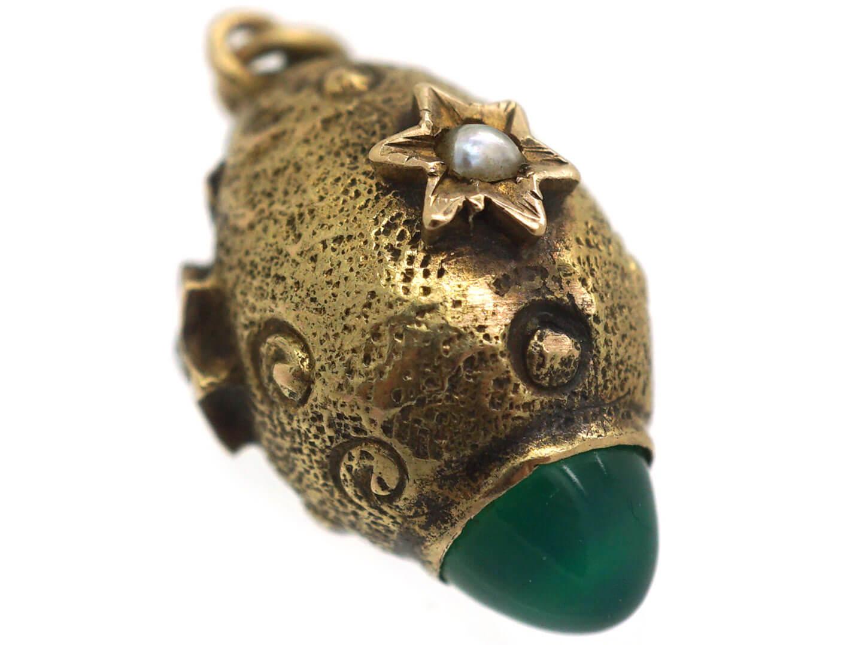 Edwardian 15ct Gold Egg Charm set with Chrysoprase & Natural Split Pearls