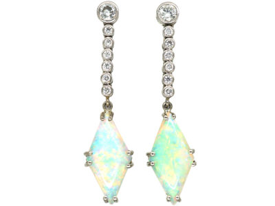 Art Deco Platinum, Opal & Diamond Drop Earrings