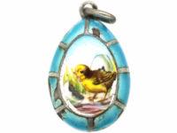Russian Silver & Enamel Easter Egg Chick Pendant