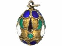 Russian Silver & Enamel Egg Pendant