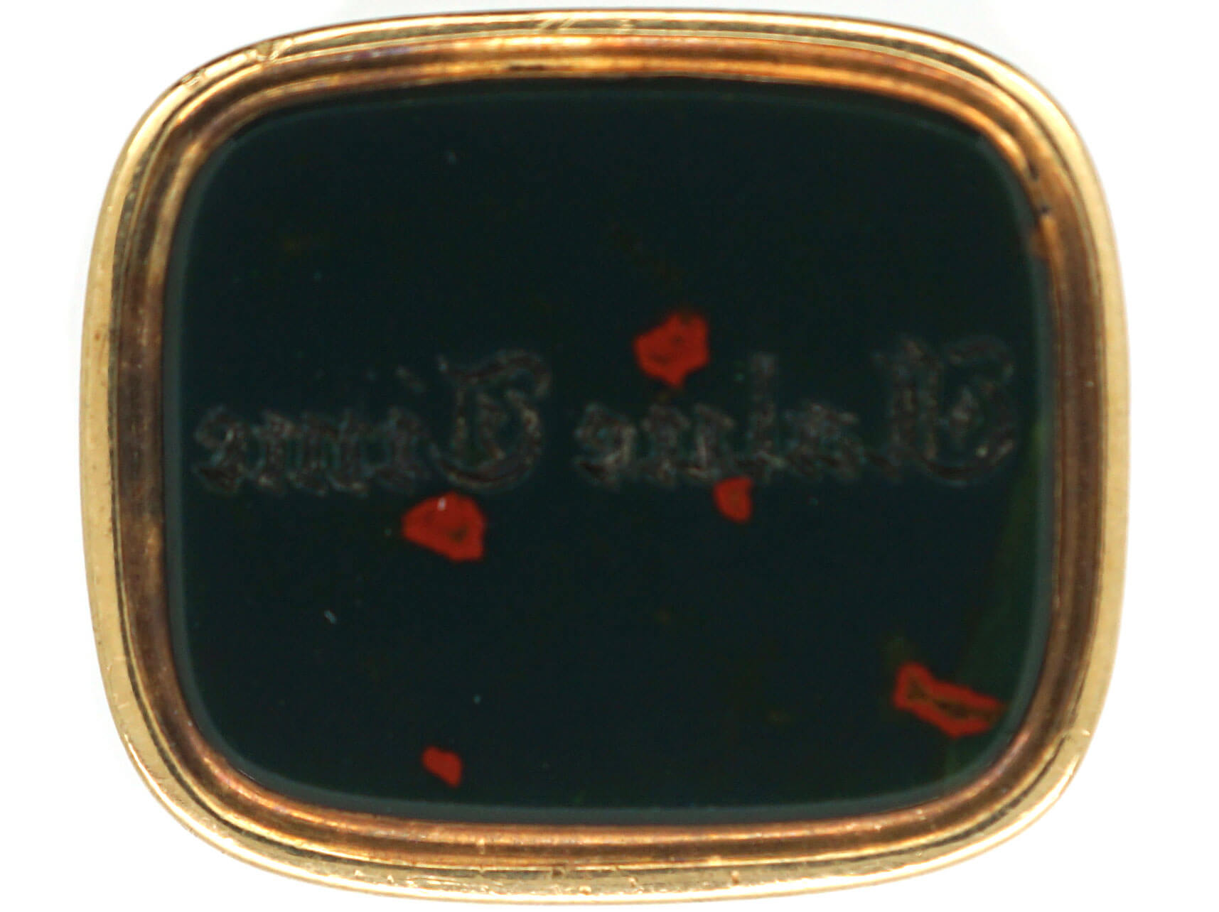 Georgian 18ct Gold Cased Gold Seal with Bloodstone Base Engraved with Value Time