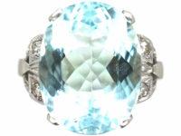 Art Deco Platinum, Aquamarine Ring with Diamond Set Shoulders