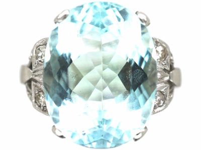 Art Deco Platinum, Aquamarine Ring with Diamond Set Shoulders