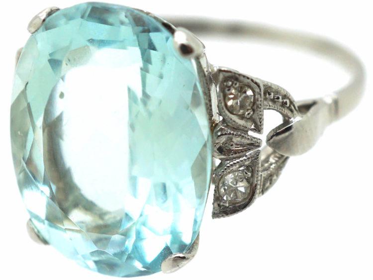 Art Deco Platinum Aquamarine Ring With Diamond Set