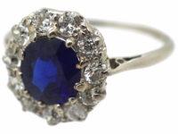 Edwardian Platinum, Diamond & Sapphire Cluster Ring