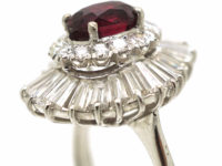 14ct White Gold Baguette Diamond & Ruby Ballerina Ring