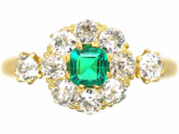 Edwardian 18ct Gold, Emerald & Diamond Cluster Ring with a Diamond on each Shoulder
