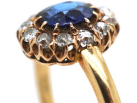 Edwardian 14ct Gold Sapphire & Diamond Oval Cluster Ring
