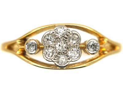 Edwardian 18ct Gold & Platinum Diamond Cluster Ring within a Frame