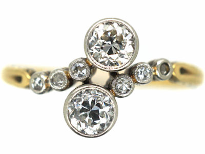 Edwardian 14ct Gold, Platinum & Diamond Crossover Ring