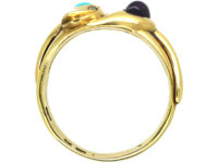 Victorian 18ct Gold Double Snake Ring set with a Turquoise & an Amethyst with Diamond Eyes