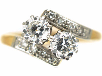 Art Deco 18ct Gold & Platinum, Two Stone Diamond Crossover Ring