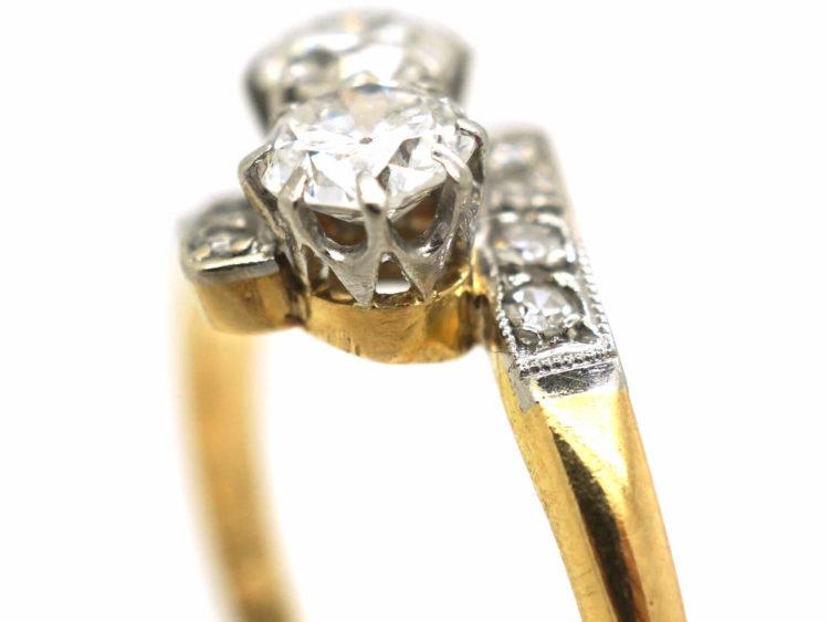 Art Deco 18ct Gold & Platinum, Two Stone Diamond Crossover Ring
